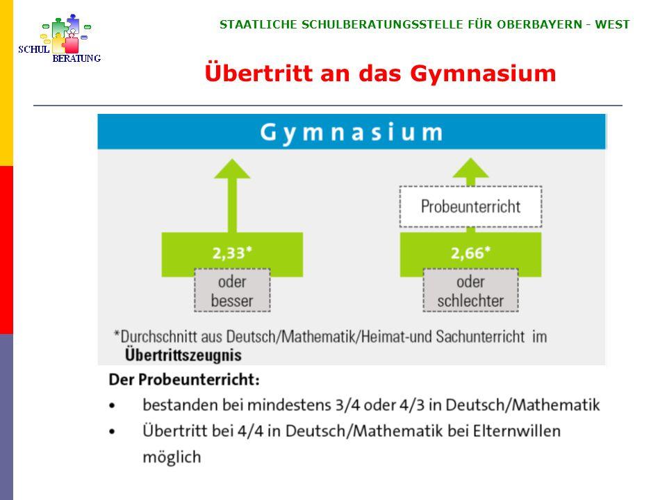 STAATLICHE SCHULBERATUNGSSTELLE FÜR OBERBAYERN ‑ WEST Ausbildungsrichtungen des Gymnasiums
