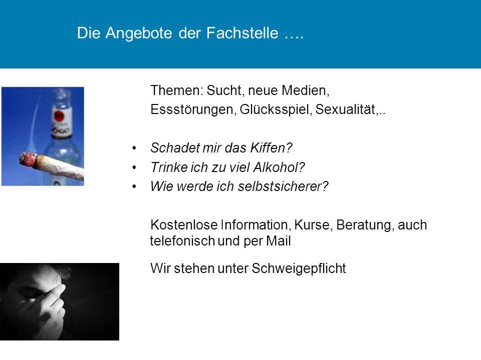Die Angebote der Fachstelle …. Themen: Sucht, neue Medien, Essstörungen, Glücksspiel, Sexualität,..