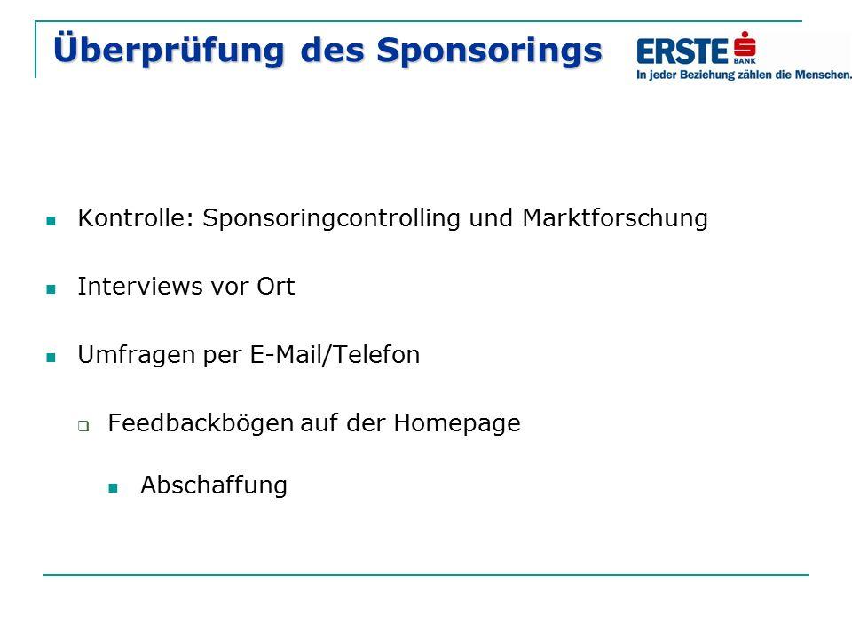 Überprüfung des Sponsorings Kontrolle: Sponsoringcontrolling und Marktforschung Interviews vor Ort Umfragen per E-Mail/Telefon  Feedbackbögen auf der Homepage Abschaffung