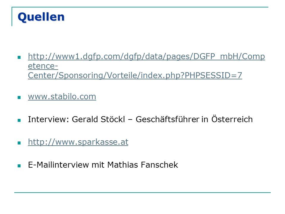 Quellen http://www1.dgfp.com/dgfp/data/pages/DGFP_mbH/Comp etence- Center/Sponsoring/Vorteile/index.php PHPSESSID=7 http://www1.dgfp.com/dgfp/data/pages/DGFP_mbH/Comp etence- Center/Sponsoring/Vorteile/index.php PHPSESSID=7 www.stabilo.com Interview: Gerald Stöckl – Geschäftsführer in Österreich http://www.sparkasse.at E-Mailinterview mit Mathias Fanschek