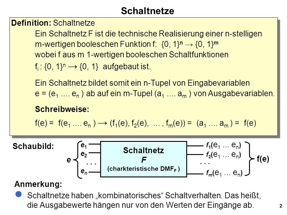 2 Schaltnetze Definition: Schaltnetze Ein Schaltnetz F ist die technische Realisierung einer n-stelligen m-wertigen booleschen Funktion f: {0, 1} n →