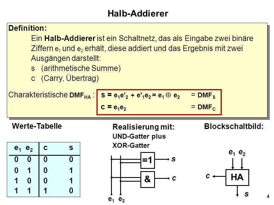 4 Halb-Addierer Definition: Ein Halb-Addierer ist ein Schaltnetz, das als Eingabe zwei binäre Ziffern e 1 und e 2 erhält, diese addiert und das Ergebn