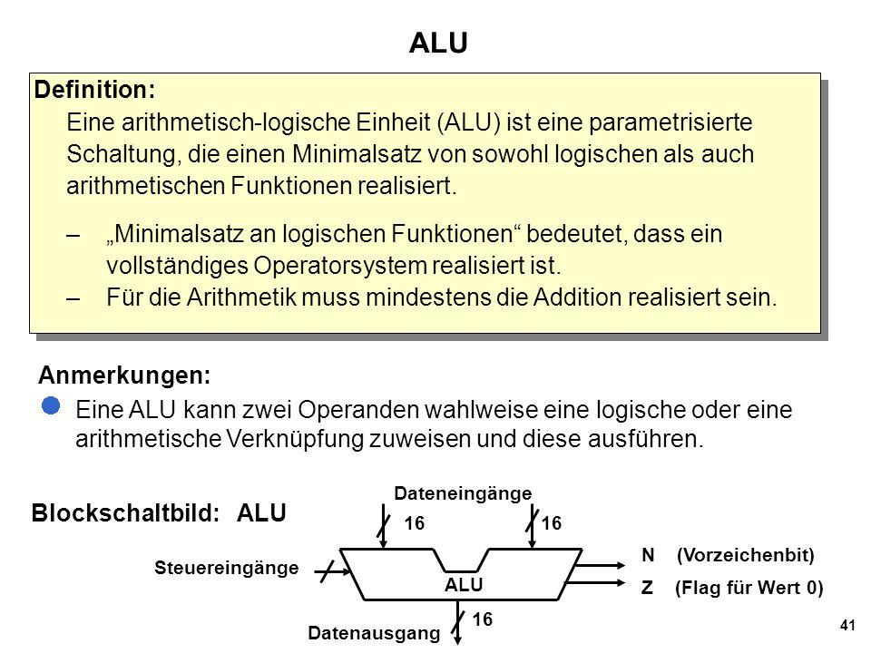 41 ALU Blockschaltbild: ALU Definition: Eine arithmetisch-logische Einheit (ALU) ist eine parametrisierte Schaltung, die einen Minimalsatz von sowohl