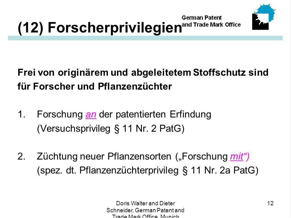 Doris Walter and Dieter Schneider, German Patent and Trade Mark Office, Munich 12 (12) Forscherprivilegien Frei von originärem und abgeleitetem Stoffschutz sind für Forscher und Pflanzenzüchter 1.Forschung an der patentierten Erfindung (Versuchsprivileg § 11 Nr.