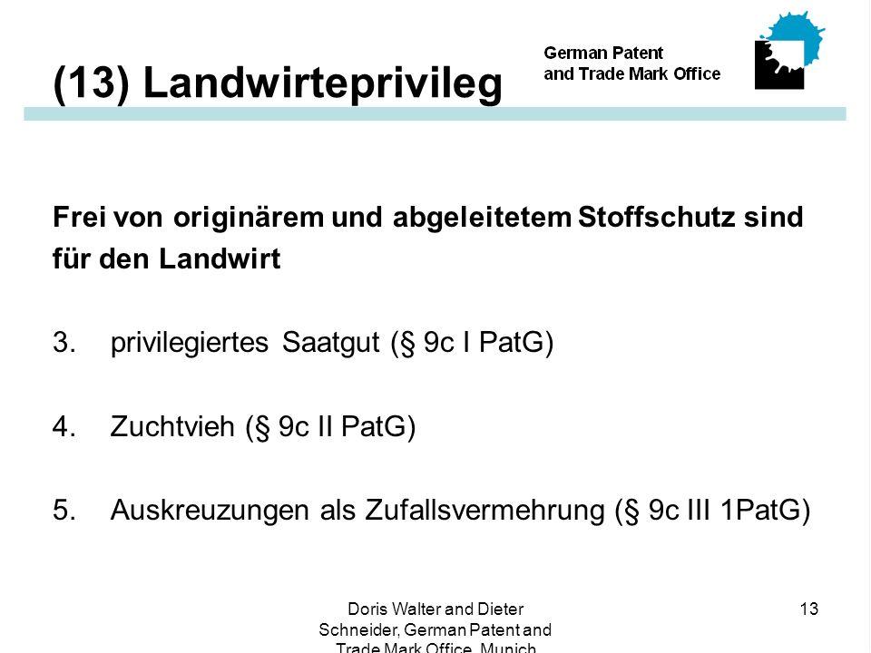 Doris Walter and Dieter Schneider, German Patent and Trade Mark Office, Munich 13 (13) Landwirteprivileg Frei von originärem und abgeleitetem Stoffschutz sind für den Landwirt 3.privilegiertes Saatgut (§ 9c I PatG) 4.Zuchtvieh (§ 9c II PatG) 5.Auskreuzungen als Zufallsvermehrung (§ 9c III 1PatG)