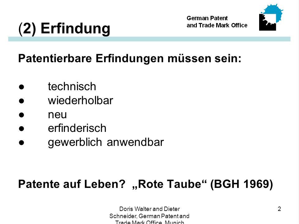 Doris Walter and Dieter Schneider, German Patent and Trade Mark Office, Munich 2 (2) Erfindung Patentierbare Erfindungen müssen sein: ● technisch ● wiederholbar ● neu ● erfinderisch ● gewerblich anwendbar Patente auf Leben.
