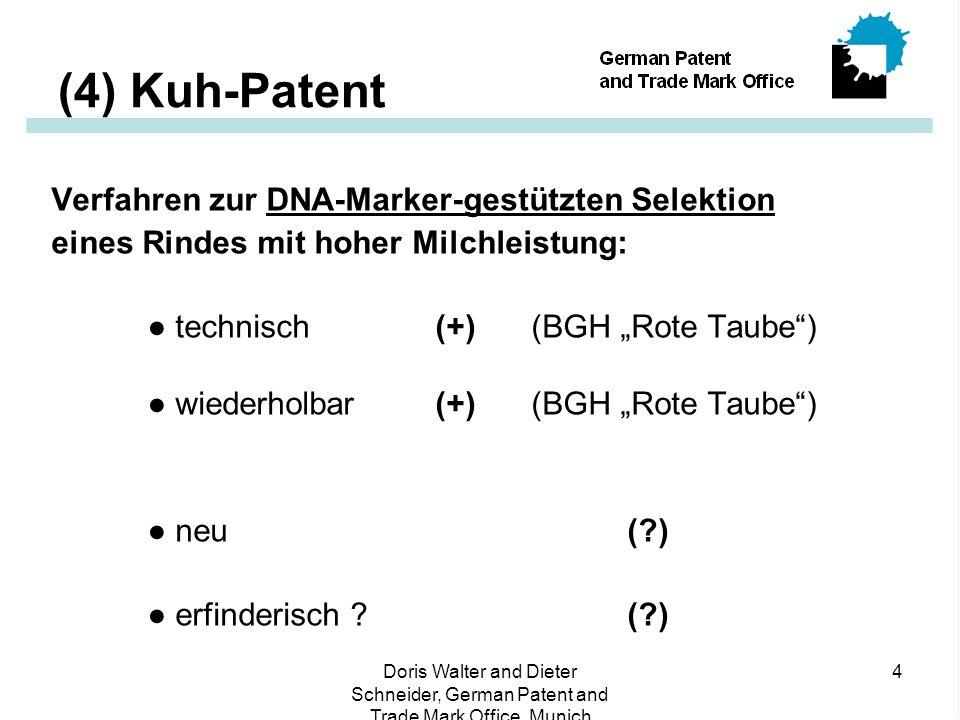 """Doris Walter and Dieter Schneider, German Patent and Trade Mark Office, Munich 4 (4) Kuh-Patent Verfahren zur DNA-Marker-gestützten Selektion eines Rindes mit hoher Milchleistung: ● technisch (+) (BGH """"Rote Taube ) ● wiederholbar(+) (BGH """"Rote Taube ) ● neu (?) ● erfinderisch ?(?)"""