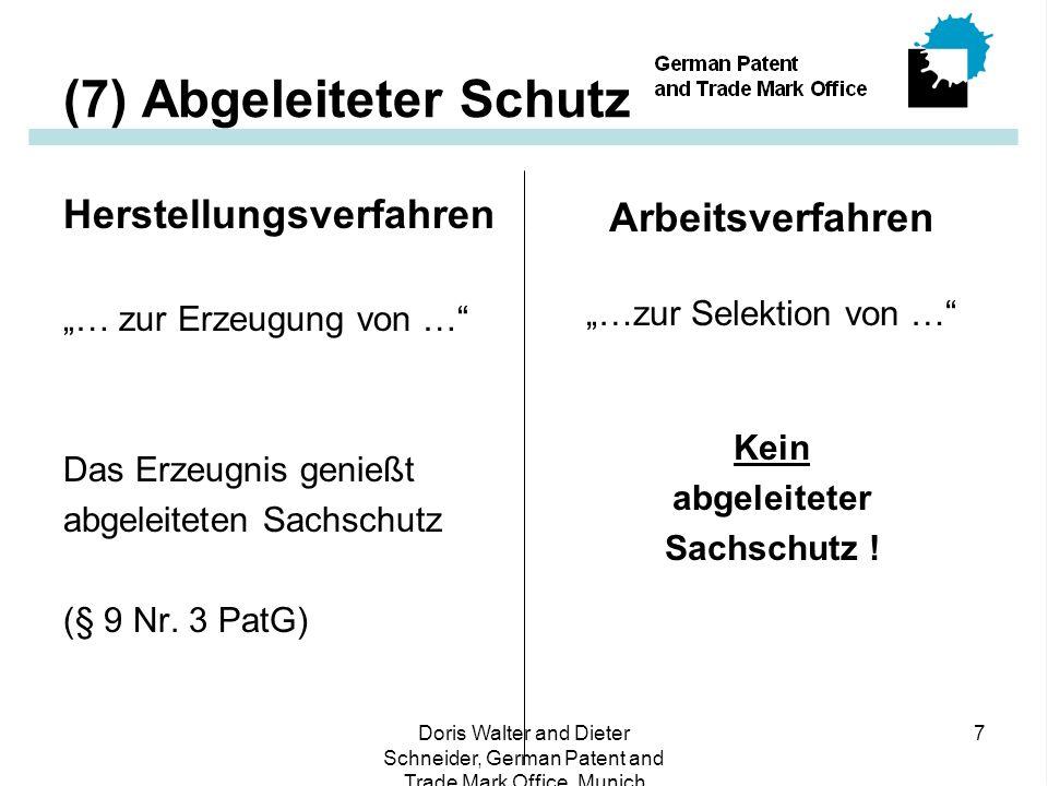 """Doris Walter and Dieter Schneider, German Patent and Trade Mark Office, Munich 7 (7) Abgeleiteter Schutz Herstellungsverfahren """"… zur Erzeugung von … Das Erzeugnis genießt abgeleiteten Sachschutz (§ 9 Nr."""