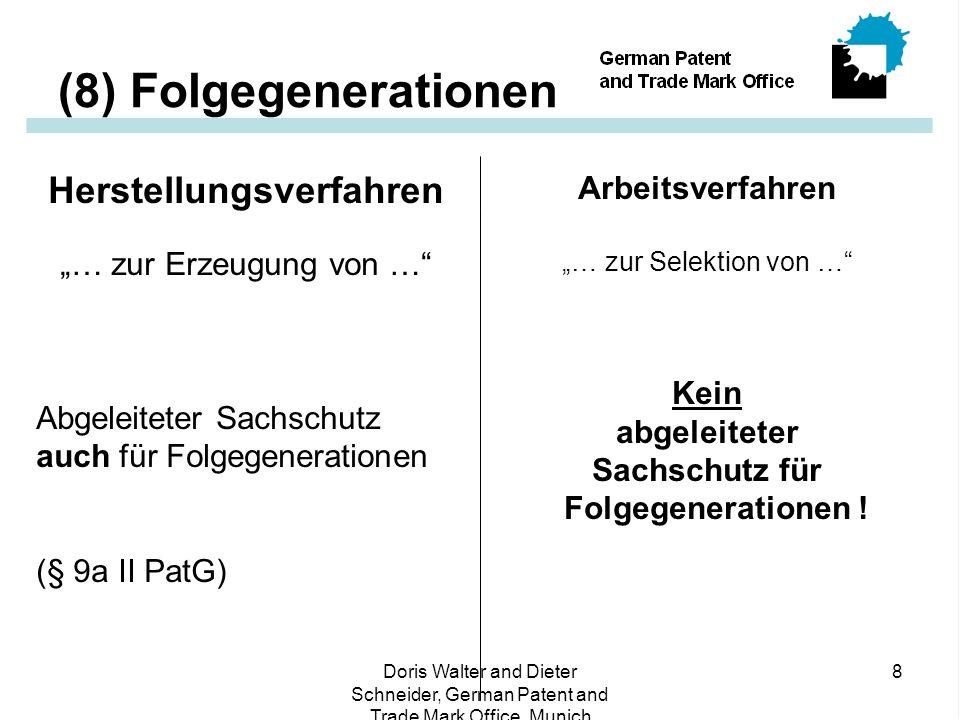 """Doris Walter and Dieter Schneider, German Patent and Trade Mark Office, Munich 8 (8) Folgegenerationen Herstellungsverfahren """"… zur Erzeugung von … Abgeleiteter Sachschutz auch für Folgegenerationen (§ 9a II PatG) Arbeitsverfahren """"… zur Selektion von … Kein abgeleiteter Sachschutz für Folgegenerationen !"""