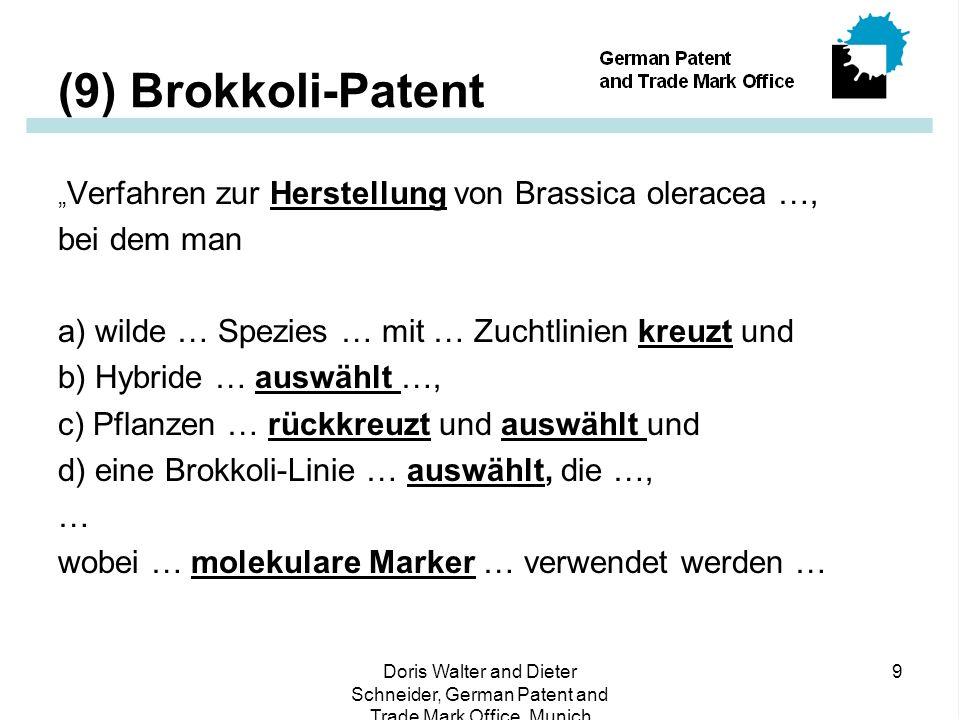 """Doris Walter and Dieter Schneider, German Patent and Trade Mark Office, Munich 9 (9) Brokkoli-Patent """" Verfahren zur Herstellung von Brassica oleracea …, bei dem man a) wilde … Spezies … mit … Zuchtlinien kreuzt und b) Hybride … auswählt …, c) Pflanzen … rückkreuzt und auswählt und d) eine Brokkoli-Linie … auswählt, die …, … wobei … molekulare Marker … verwendet werden …"""