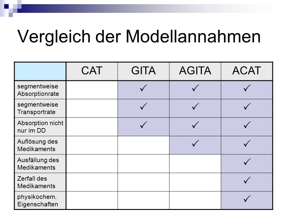 Vergleich der Modellannahmen CATGITAAGITAACAT segmentweise Absorptionrate  segmentweise Transportrate  Absorption nicht nur im DD  Auflösung