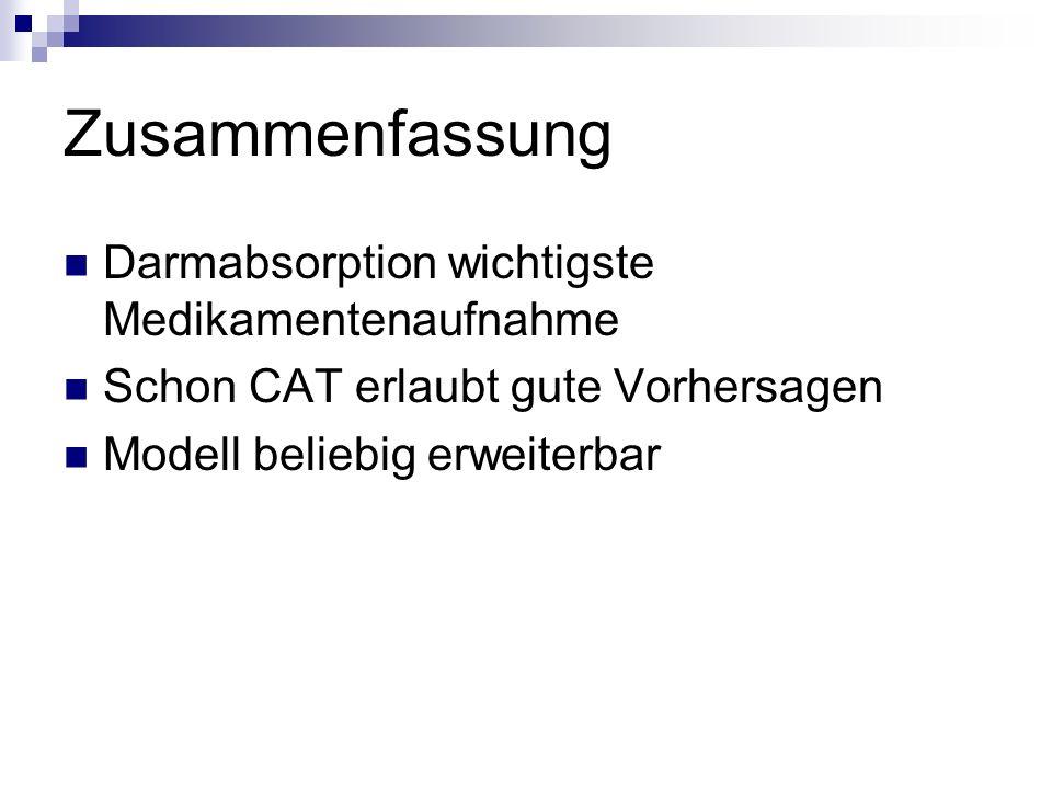 Zusammenfassung Darmabsorption wichtigste Medikamentenaufnahme Schon CAT erlaubt gute Vorhersagen Modell beliebig erweiterbar