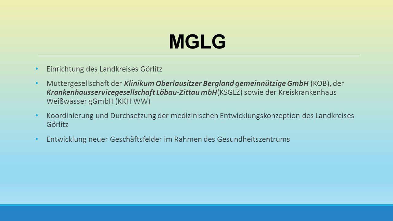 MGLG Einrichtung des Landkreises Görlitz Muttergesellschaft der Klinikum Oberlausitzer Bergland gemeinnützige GmbH (KOB), der Krankenhausservicegesell