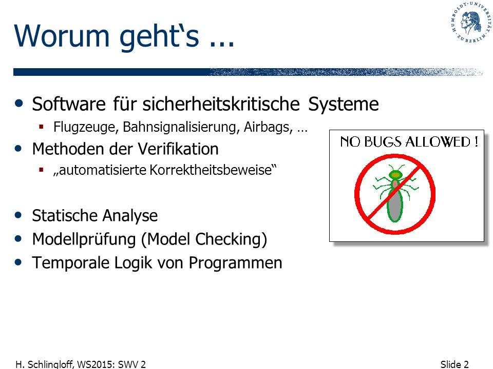 Slide 2 H. Schlingloff, WS2015: SWV 2 Worum geht's... Software für sicherheitskritische Systeme  Flugzeuge, Bahnsignalisierung, Airbags, … Methoden d