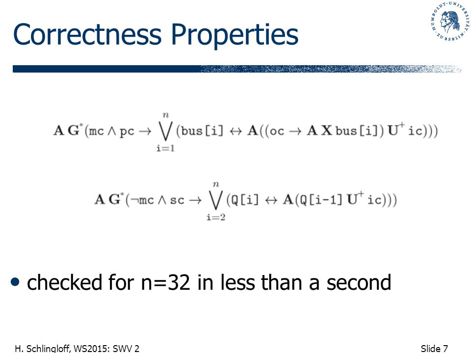Slide 7 H. Schlingloff, WS2015: SWV 2 Correctness Properties checked for n=32 in less than a second