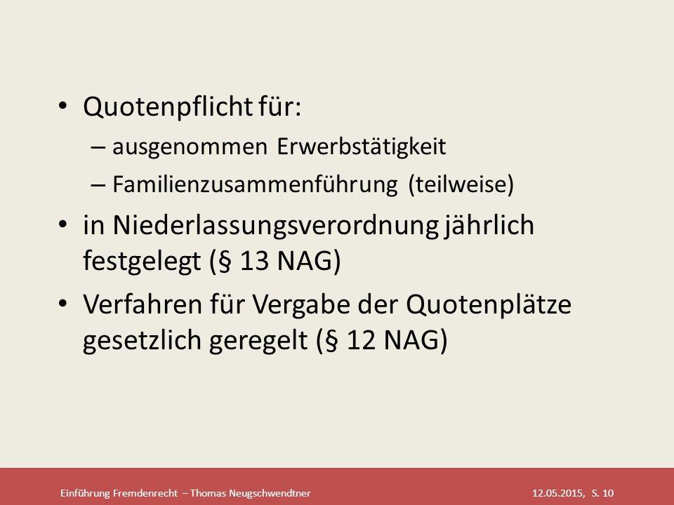 Einführung Fremdenrecht – Thomas Neugschwendtner 12.05.2015, S. 10 Quotenpflicht für: – ausgenommen Erwerbstätigkeit – Familienzusammenführung (teilwe