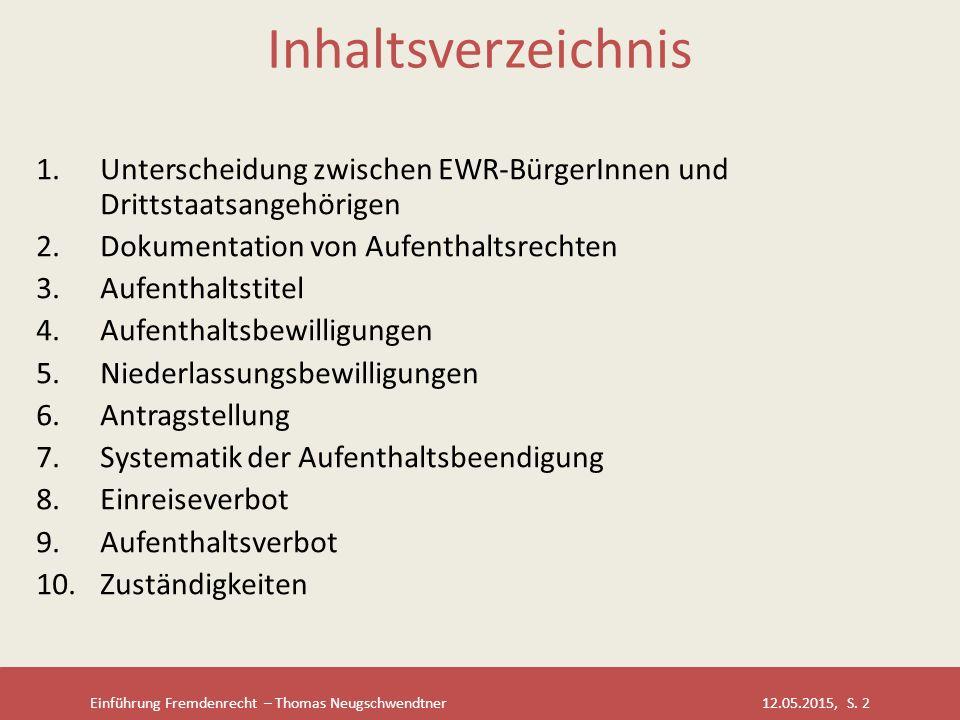 Einführung Fremdenrecht – Thomas Neugschwendtner 12.05.2015, S. 2 Inhaltsverzeichnis 1.Unterscheidung zwischen EWR-BürgerInnen und Drittstaatsangehöri