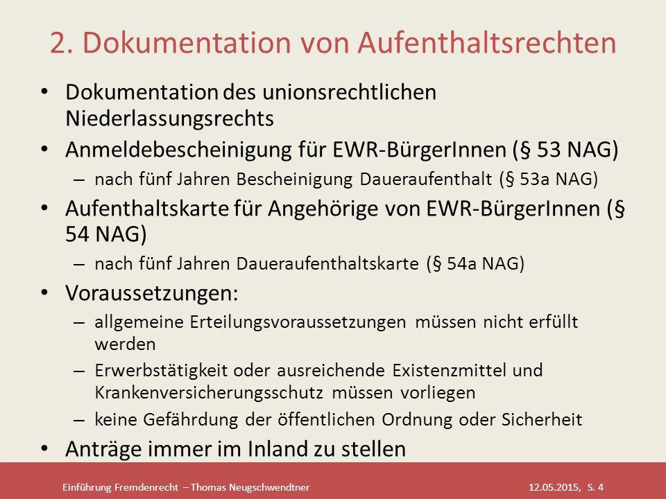 Einführung Fremdenrecht – Thomas Neugschwendtner 12.05.2015, S. 4 2. Dokumentation von Aufenthaltsrechten Dokumentation des unionsrechtlichen Niederla