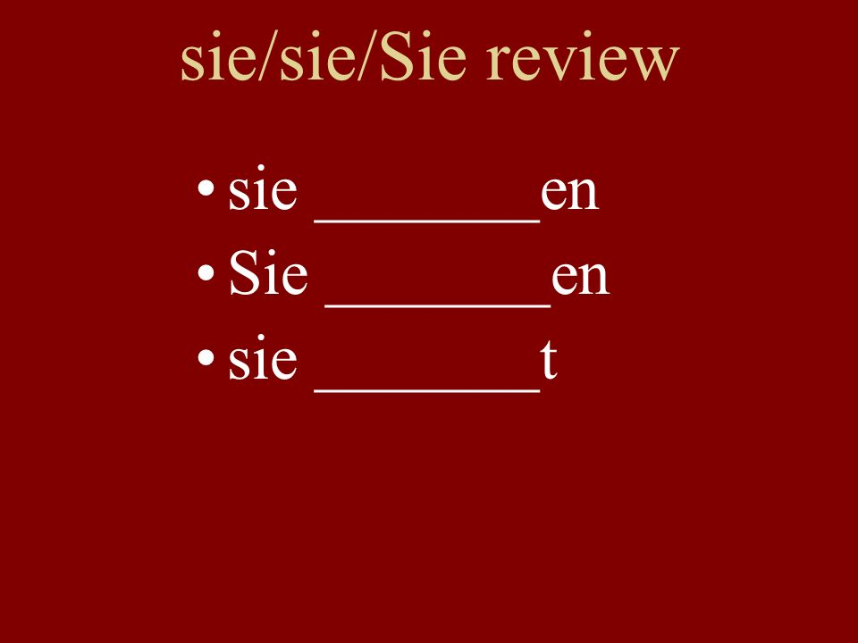 Verb Review With partner: verb chart on board (include infinitive & translation) spielensein hörenhaben redenstudieren arbeitenfinden kommengehen