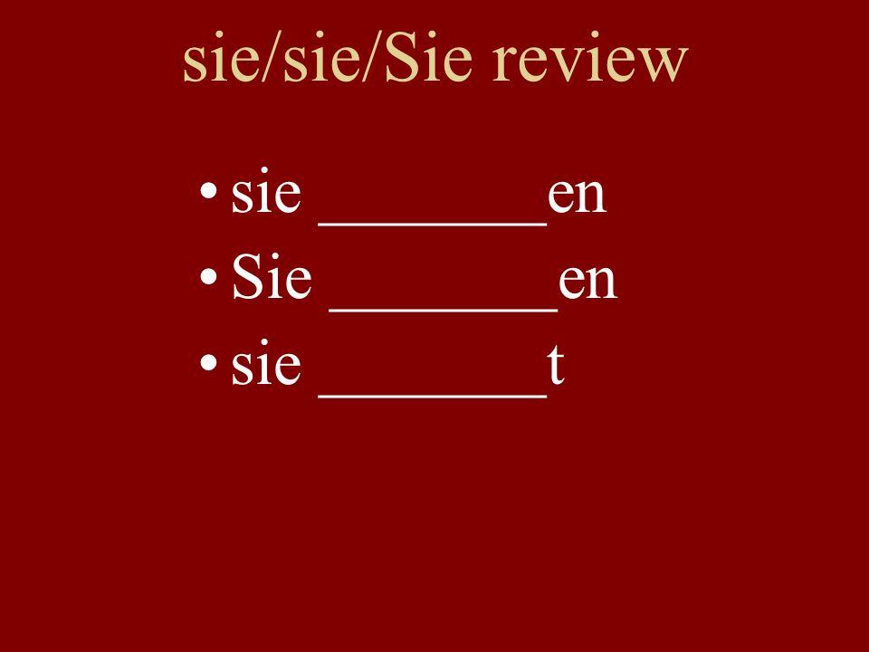 sie/sie/Sie review sie _______en Sie _______en sie _______t