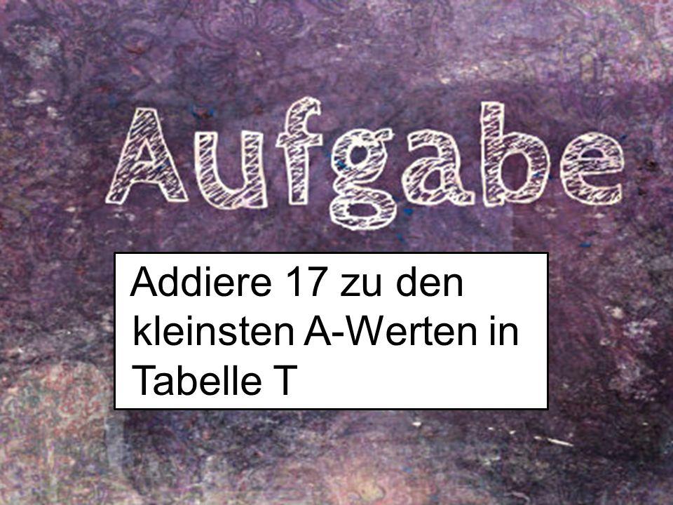 16 Addiere 17 zu den kleinsten A-Werten in Tabelle T