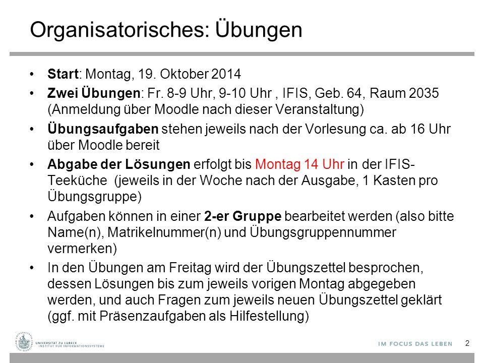 Organisatorisches: Übungen Start: Montag, 19. Oktober 2014 Zwei Übungen: Fr.