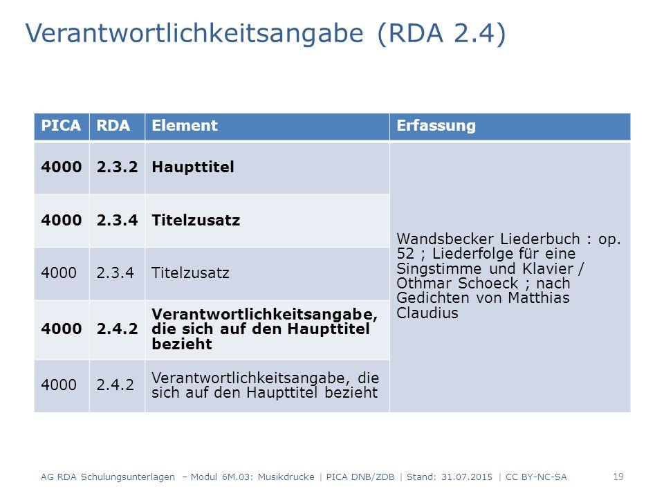 Verantwortlichkeitsangabe (RDA 2.4) AG RDA Schulungsunterlagen – Modul 6M.03: Musikdrucke | PICA DNB/ZDB | Stand: 31.07.2015 | CC BY-NC-SA 19 PICARDAElementErfassung 40002.3.2Haupttitel Wandsbecker Liederbuch : op.