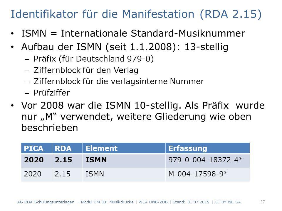 Identifikator für die Manifestation (RDA 2.15) ISMN = Internationale Standard-Musiknummer Aufbau der ISMN (seit 1.1.2008): 13-stellig – Präfix (für Deutschland 979-0) – Ziffernblock für den Verlag – Ziffernblock für die verlagsinterne Nummer – Prüfziffer Vor 2008 war die ISMN 10-stellig.
