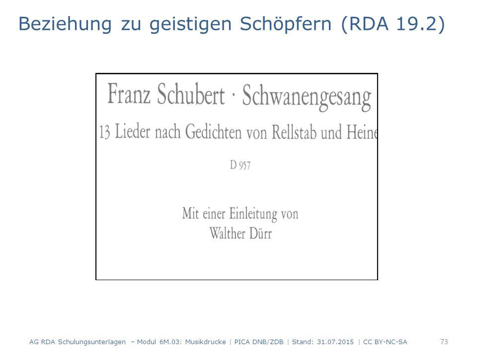 Beziehung zu geistigen Schöpfern (RDA 19.2) AG RDA Schulungsunterlagen – Modul 6M.03: Musikdrucke | PICA DNB/ZDB | Stand: 31.07.2015 | CC BY-NC-SA 73