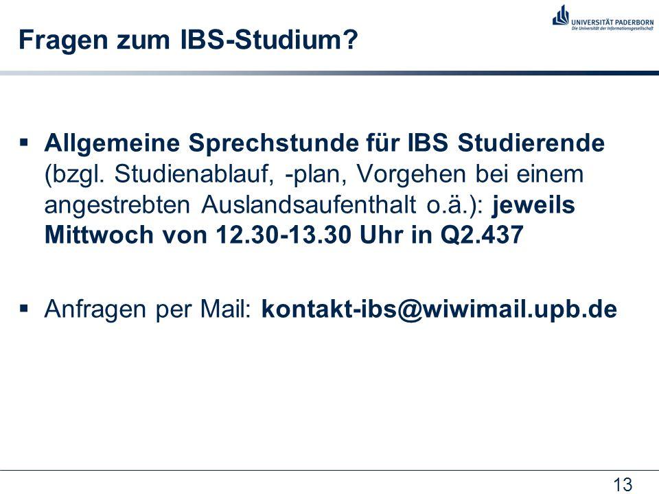 13 Fragen zum IBS-Studium. Allgemeine Sprechstunde für IBS Studierende (bzgl.
