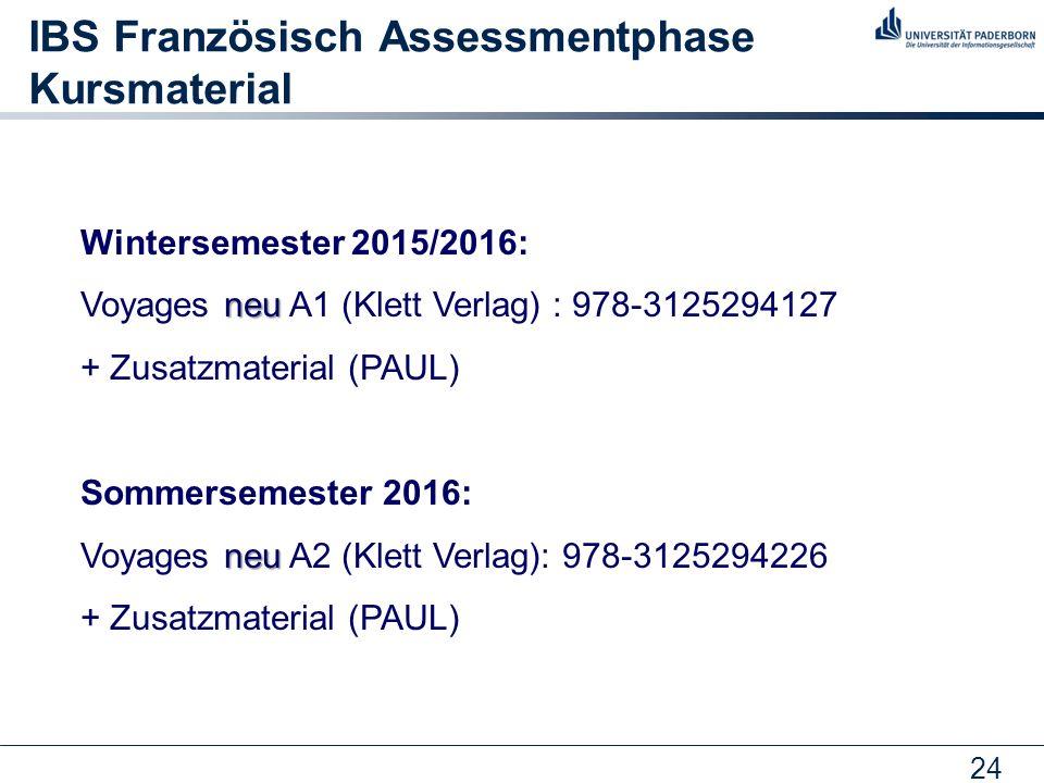 24 IBS Französisch Assessmentphase Kursmaterial Wintersemester 2015/2016: neu Voyages neu A1 (Klett Verlag) : 978-3125294127 + Zusatzmaterial (PAUL) S