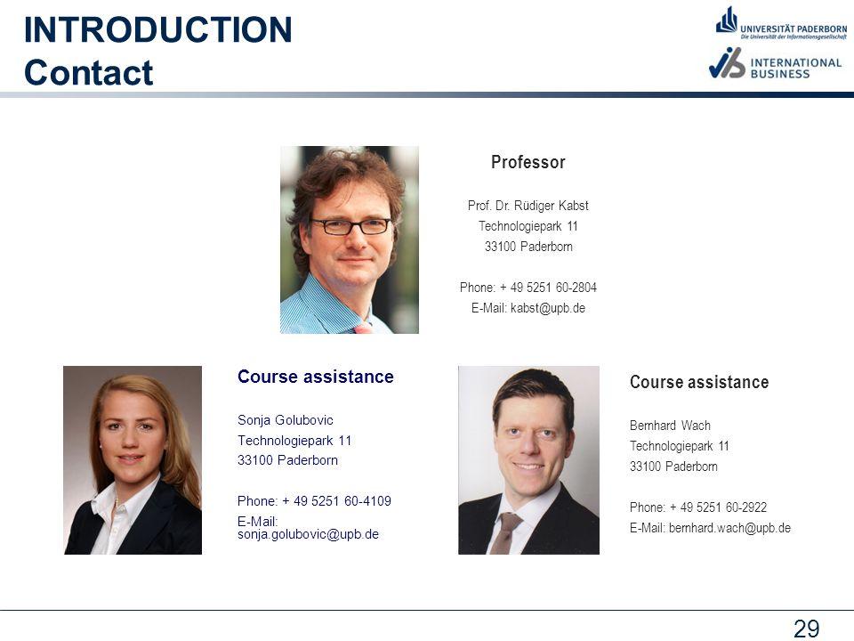 29 INTRODUCTION Contact Professor Prof.Dr.