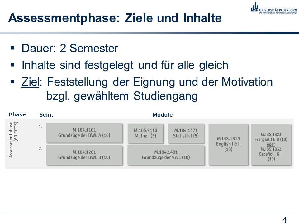 4 Assessmentphase: Ziele und Inhalte  Dauer: 2 Semester  Inhalte sind festgelegt und für alle gleich  Ziel: Feststellung der Eignung und der Motiva