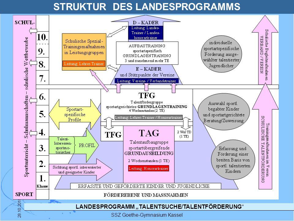 """LANDESPROGRAMM """"TALENTSUCHE/TALENTFÖRDERUNG"""" SSZ Goethe-Gymnasium Kassel 28.10.2015 STRUKTUR DES LANDESPROGRAMMS"""
