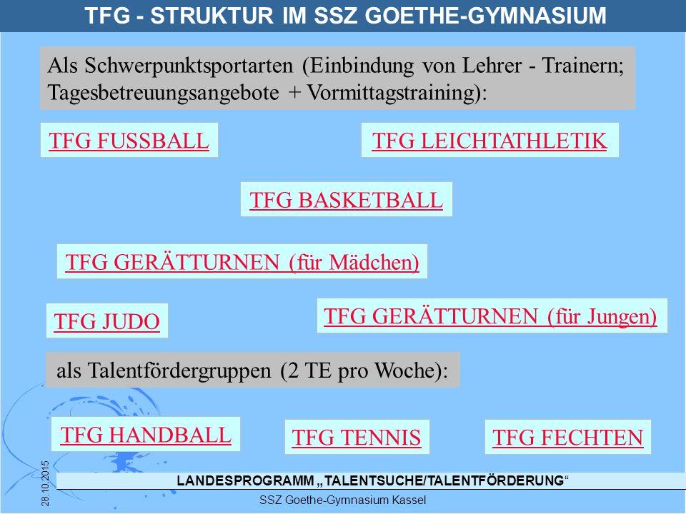 """LANDESPROGRAMM """"TALENTSUCHE/TALENTFÖRDERUNG"""" SSZ Goethe-Gymnasium Kassel 28.10.2015 TFG - STRUKTUR IM SSZ GOETHE-GYMNASIUM TFG FUSSBALL TFG JUDO TFG H"""
