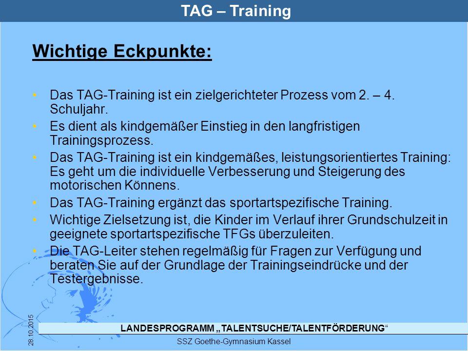 """LANDESPROGRAMM """"TALENTSUCHE/TALENTFÖRDERUNG"""" SSZ Goethe-Gymnasium Kassel 28.10.2015 TAG – Training Wichtige Eckpunkte: Das TAG-Training ist ein zielge"""