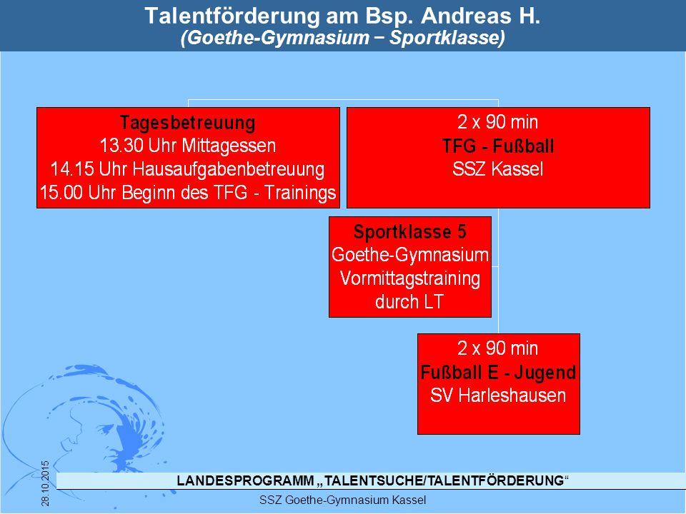 """LANDESPROGRAMM """"TALENTSUCHE/TALENTFÖRDERUNG"""" SSZ Goethe-Gymnasium Kassel 28.10.2015 Talentförderung am Bsp. Andreas H. (Goethe-Gymnasium − Sportklasse"""