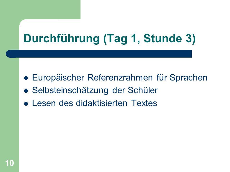 10 Durchführung (Tag 1, Stunde 3) Europäischer Referenzrahmen für Sprachen Selbsteinschätzung der Schüler Lesen des didaktisierten Textes