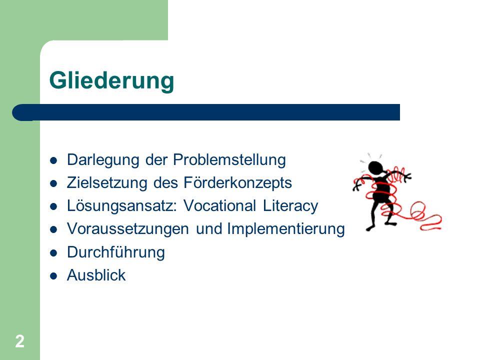 2 Gliederung Darlegung der Problemstellung Zielsetzung des Förderkonzepts Lösungsansatz: Vocational Literacy Voraussetzungen und Implementierung Durch