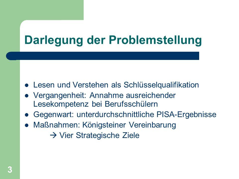 3 Darlegung der Problemstellung Lesen und Verstehen als Schlüsselqualifikation Vergangenheit: Annahme ausreichender Lesekompetenz bei Berufsschülern G