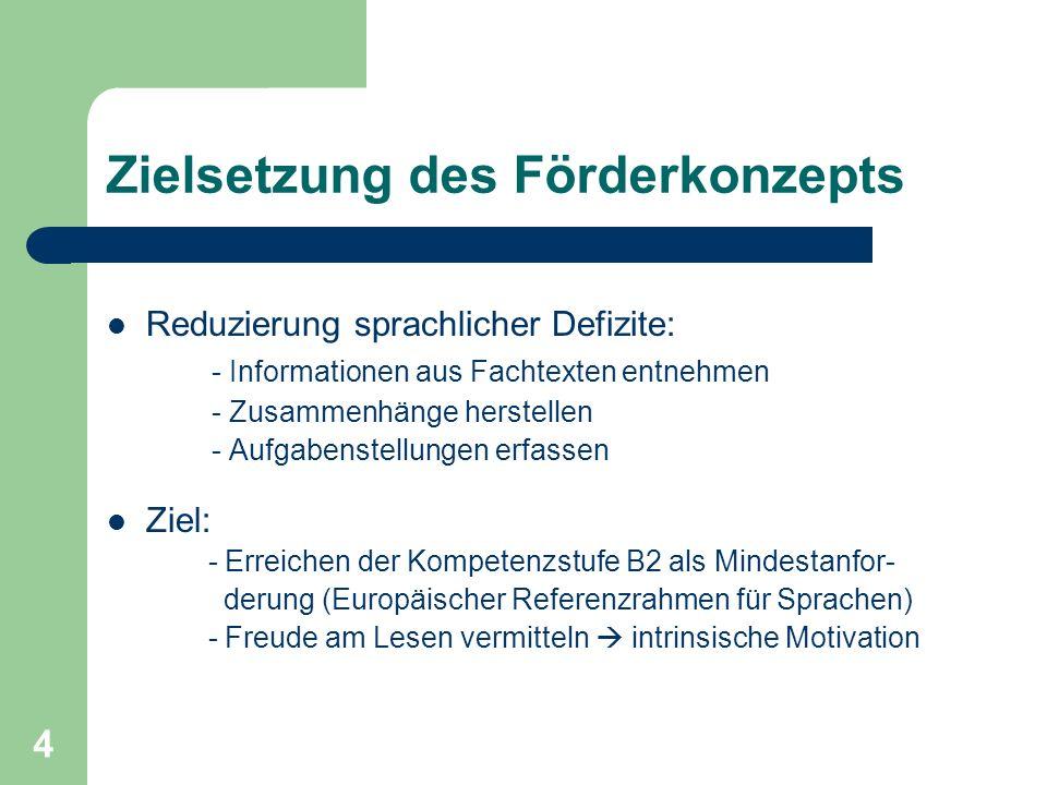 4 Zielsetzung des Förderkonzepts Reduzierung sprachlicher Defizite: - Informationen aus Fachtexten entnehmen - Zusammenhänge herstellen - Aufgabenstel