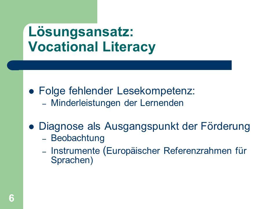 6 Lösungsansatz: Vocational Literacy Folge fehlender Lesekompetenz: – Minderleistungen der Lernenden Diagnose als Ausgangspunkt der Förderung – Beobac