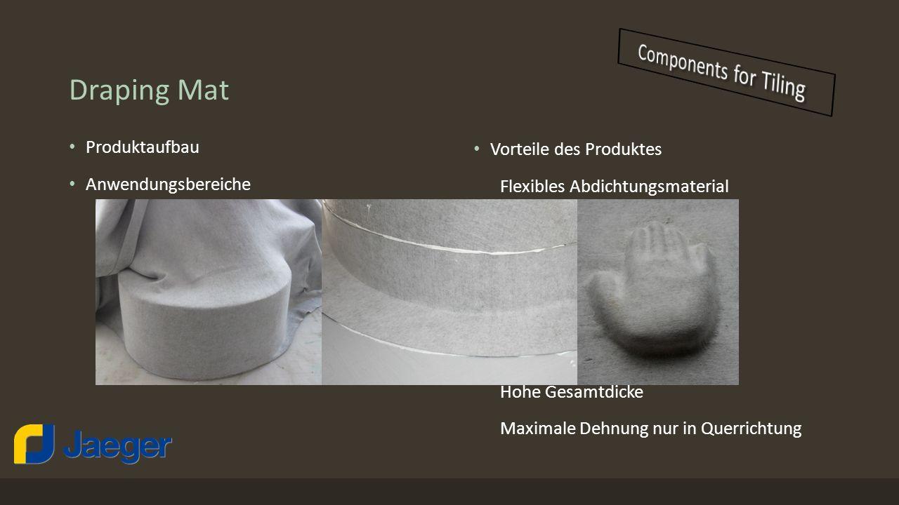 Draping Mat Produktaufbau Anwendungsbereiche Feuchtigkeitsbeanspruchungsklasse A; Abdichtung im Verbund mit Fliesen und Platten in Bereichen organisch