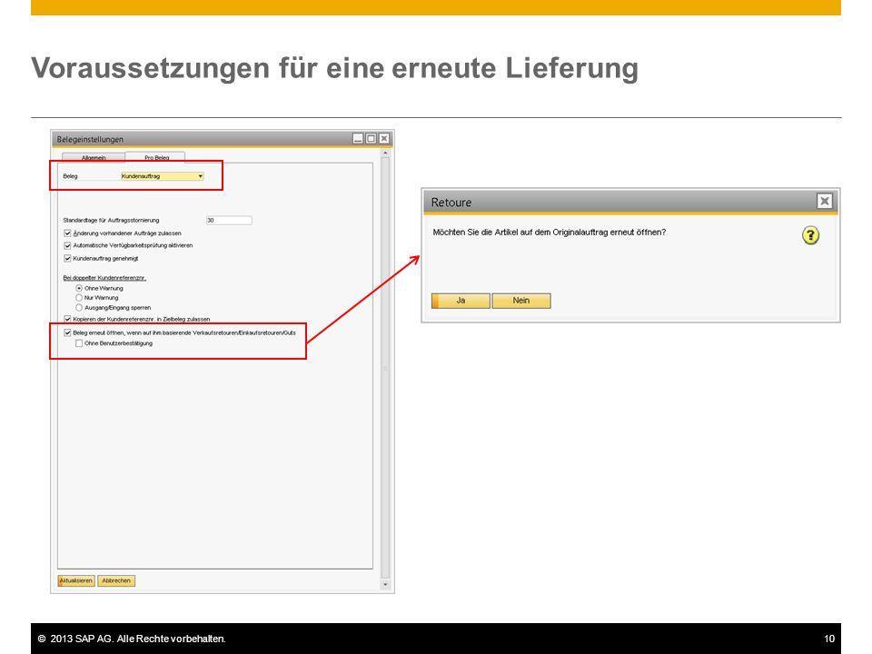 ©2013 SAP AG. Alle Rechte vorbehalten.10 Voraussetzungen für eine erneute Lieferung