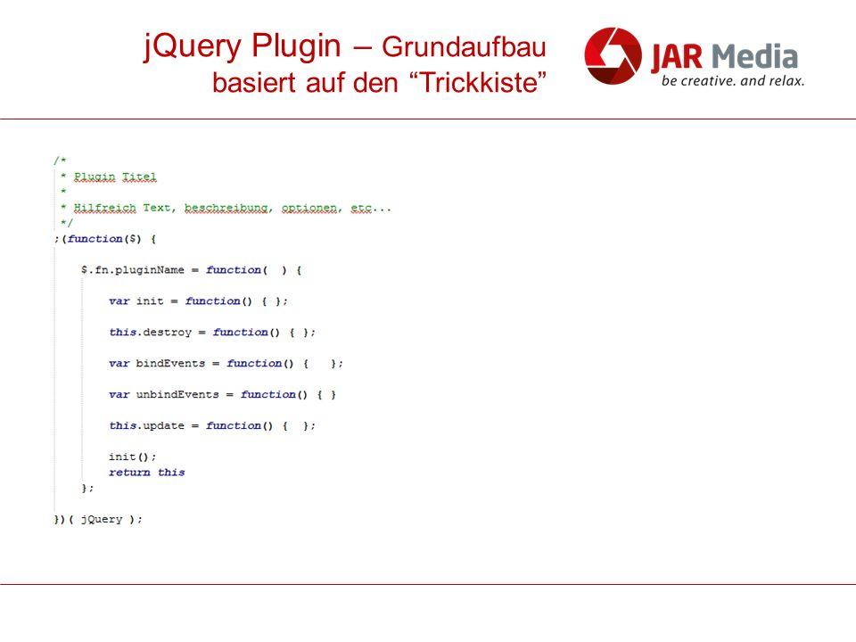 jQuery Plugin – Grundaufbau basiert auf den Trickkiste