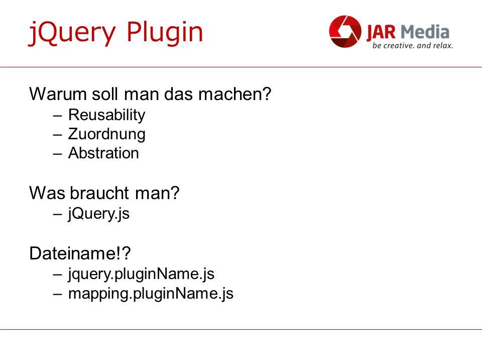 jQuery Plugin Javascript Plugin oder jQuery Plugin –Javascript Plugins 12,137,211 ops/sec Schwehre –jQuery Plugins 350,557 ops/sec Einfach