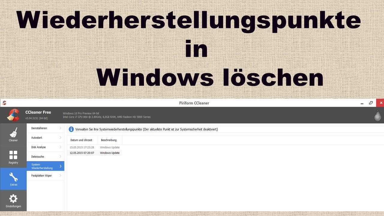 Wiederherstellungspunkte in Windows löschen