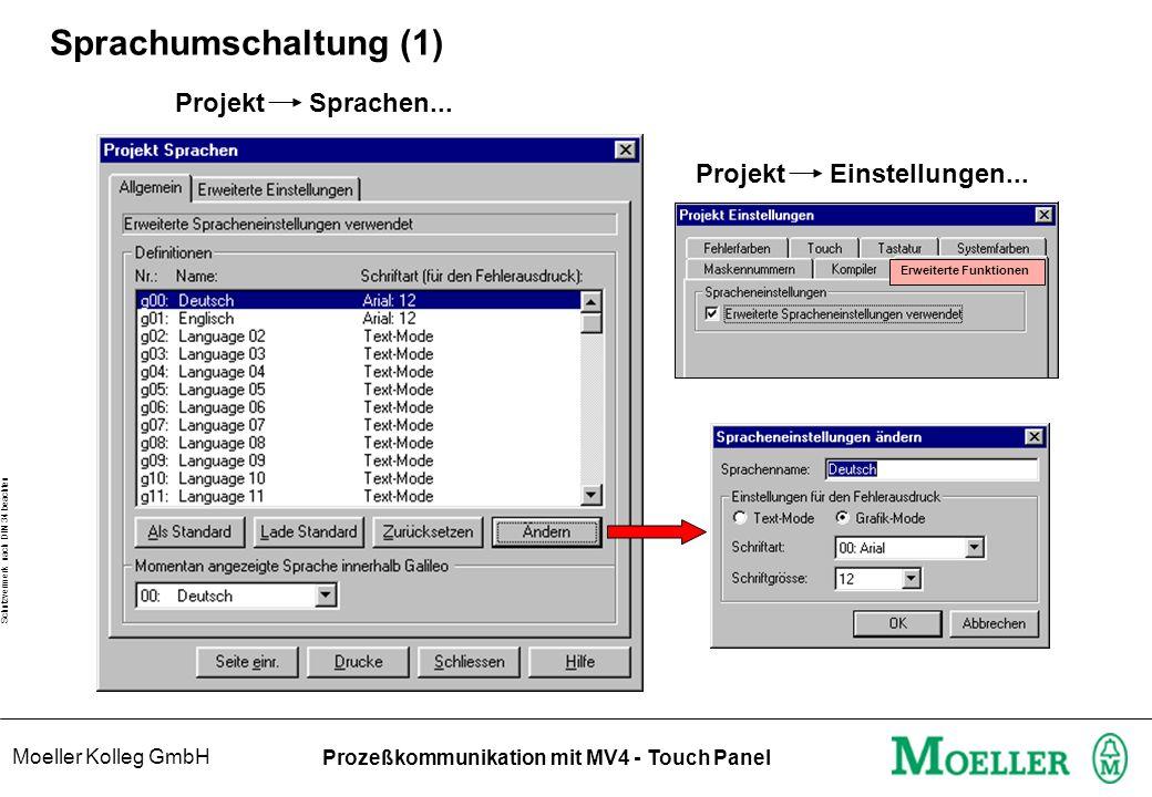 Moeller Kolleg GmbH Schutzvermerk nach DIN 34 beachten Prozeßkommunikation mit MV4 - Touch Panel Sprachumschaltung (1) Projekt Sprachen...
