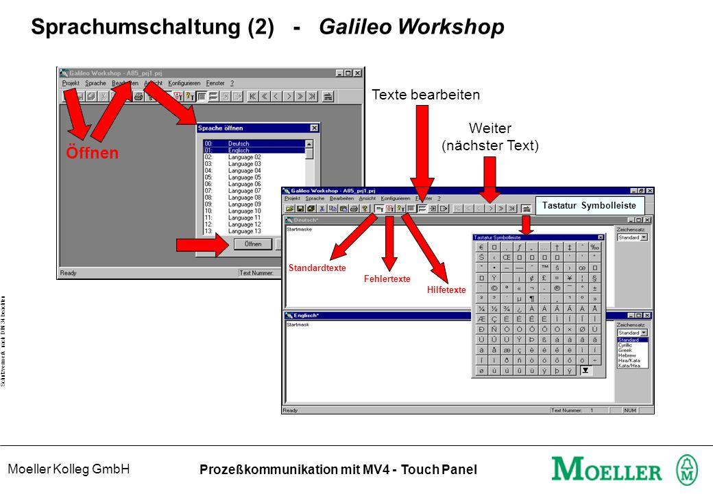 Moeller Kolleg GmbH Schutzvermerk nach DIN 34 beachten Prozeßkommunikation mit MV4 - Touch Panel Sprachumschaltung (2) - Galileo Workshop Öffnen Texte bearbeiten Weiter (nächster Text) Standardtexte Fehlertexte Hilfetexte Tastatur Symbolleiste