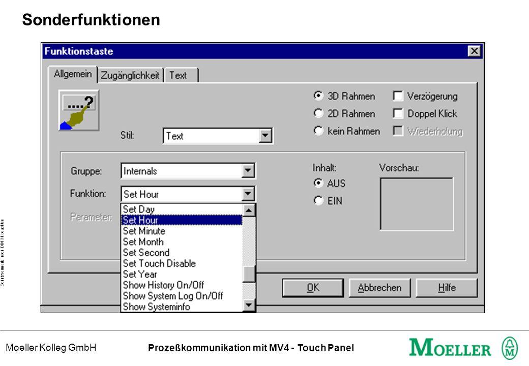 Moeller Kolleg GmbH Schutzvermerk nach DIN 34 beachten Prozeßkommunikation mit MV4 - Touch Panel Sonderfunktionen